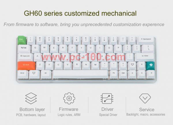 GH60 customized programmable mechanical keyboard