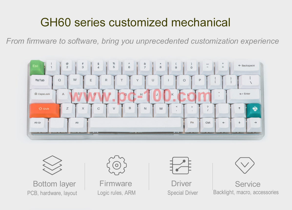 GH60 programmable mechanical keyboard with RGB back light and