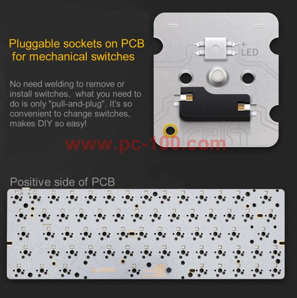 Pluggable sockets on GH60 mechanical keyboard PCB for mechanical switches
