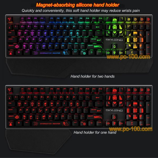 Magnet-absorbing silicone hand holder for mechanical gaming keyboard to reduce fatigue of wrists