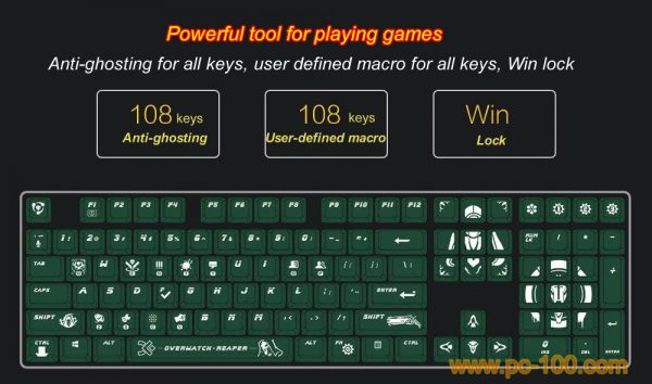 Game themed mechanical keyboard with many features for playing games