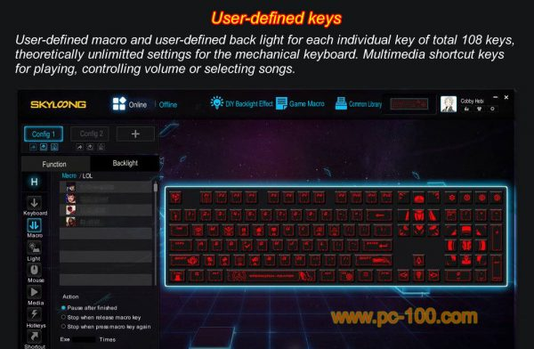 User-defined macro and backlit effects bring you powerful DIY experience on mechanical gaming keyboard