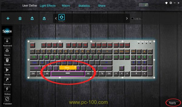 Media setting shortcut in mechanical gaming keyboard driver software