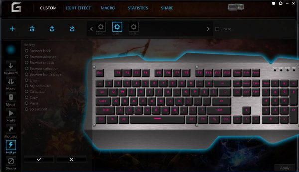 You may set hot keys for your mechanical keyboard, different hotkey function for one key in different configs.