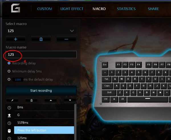 Imported macro will show on mechanical keyboard driver tool software