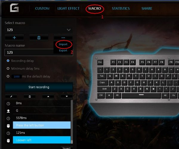 Import a macro for the mechanical keyboard