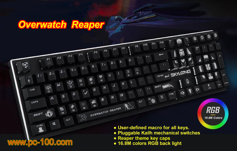 Overwatch Reaper themed mechanical gaming keyboard, game themed amazing key caps, a stylish tool for players