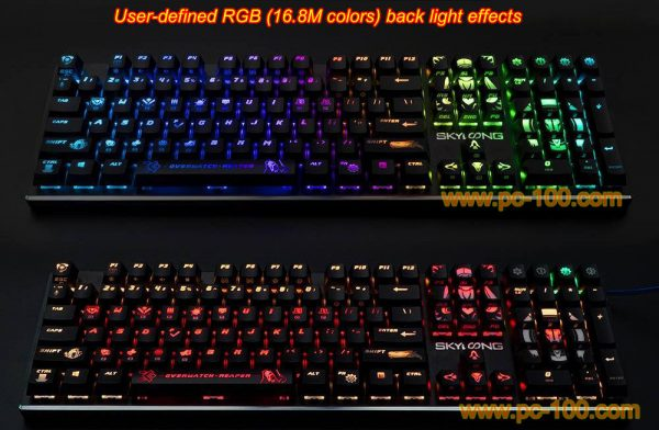 Many backlit effects for mechanical gaming keyboard, you may also define your own backlit effect