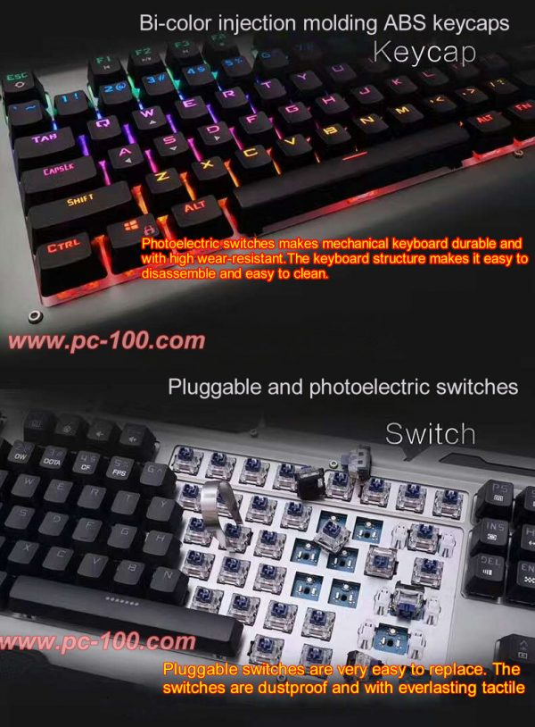 Bi-color keycaps and pluggable optical switches for machanical keyboard