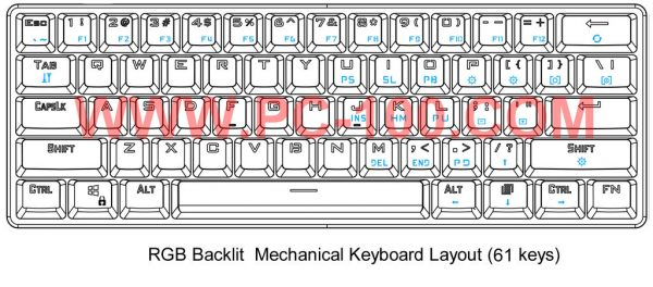 GH60 custom programmable mechanical keyboard, Poker layout (61 keys)