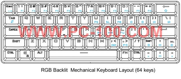 GH60 programmable mechanical keyboard with RGB back light and pluggable switches(64 keys, layout)
