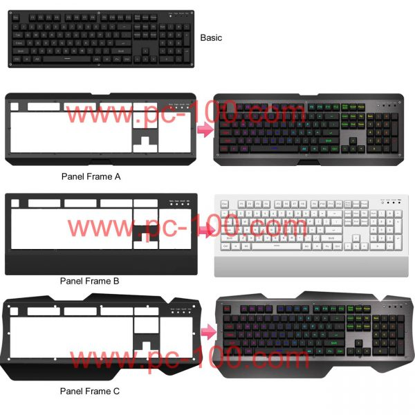 Many styles of panel frame for mechanical keyboard