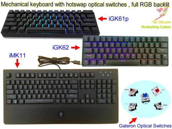 iGK61p, 62, iMK11 mechanical keyboard with RGB full color back light