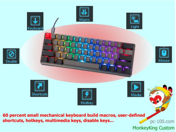 60 percent small mechanical keyboard build macros, user-defined shortcuts, hotkeys, multimedia keys, disable keys...