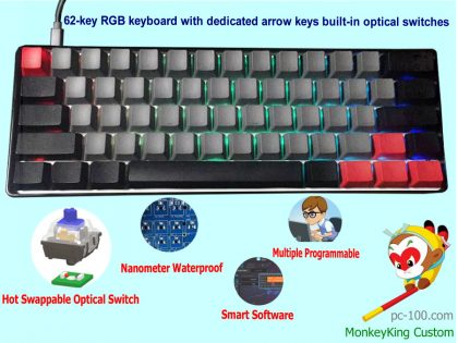 62-key compact RGB mechanical keyboard with arrow keys, optical switches, pbt keycaps