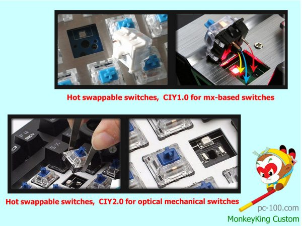 CIY mechanical keyboard, hot swappable switches, customize switches for 60% compact RGB keyboard