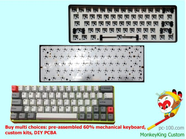 Custom 60% mechanical keyboard, buy best cheap poker keyboard custom kit, DIY 60 percent keyboard PCBA