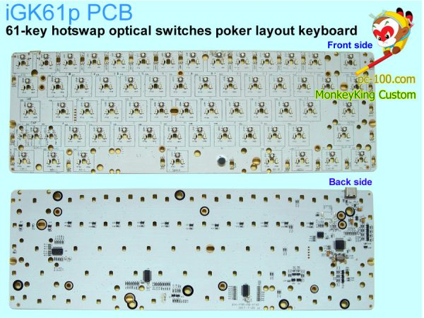 DIY 60% mechancial keyboard custom kits, PCB, hotswap optical switches, RGB backlit programmable, poker layout