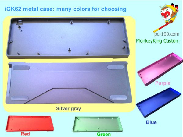 DIY iGK62 mechanical keyboard custom metal case, CNC anodized aluminum alloy case colors: silver-gray, red, green, blue, purple, high quality at good price from China supplier