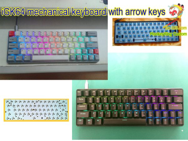 iGK64 64-key hotswap switches mechanical keyboard with arrow cluster, DIY custom kits, PCB, RGB backlit, programmable