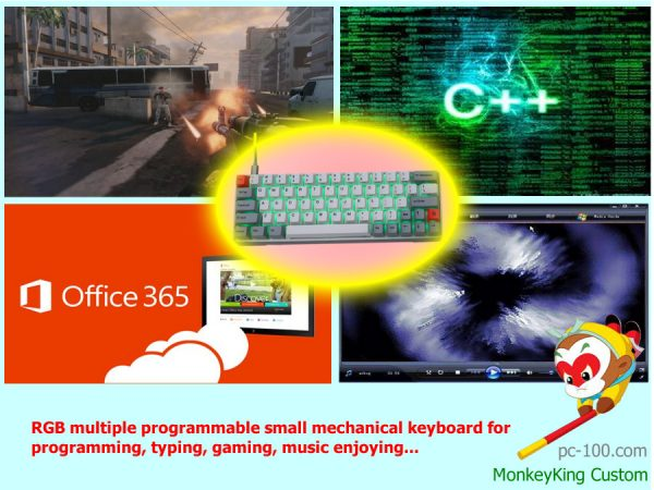 RGB multiple programmable small mechanical keyboard for programming, typing, gaming, music enjoying...