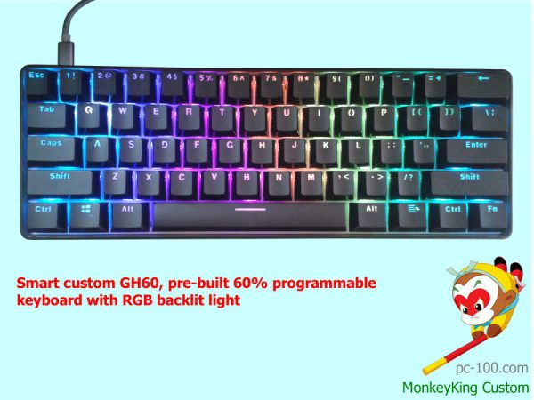 Smart custom GH60, pre-built 60% programmable mechanical keyboard with RGB backlit light