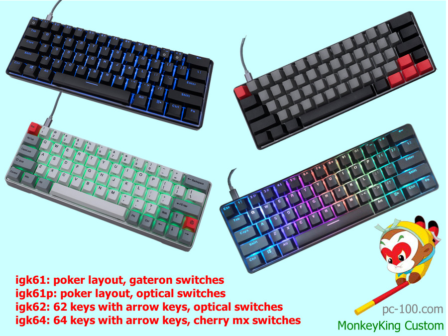 assembled 60% mechanical keyboard, full rbg backlit, multiple layouts, poker, arrow keys