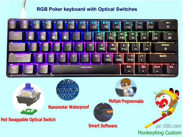 best cheapest 61-key RGB programmable mechanical keyboard built-in optical switches in 2017