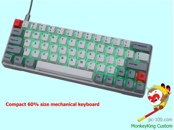 compact 60% size mechanical keyboard, small RGB backlit 60 percent mechanical keyboard