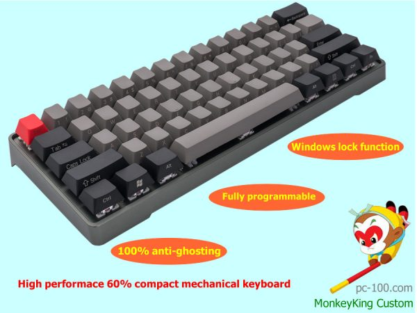 high performace 60% compact mechanical keyboard, best small mechanical keyboard, fully RGB LED backlit, mulitple smart programmable