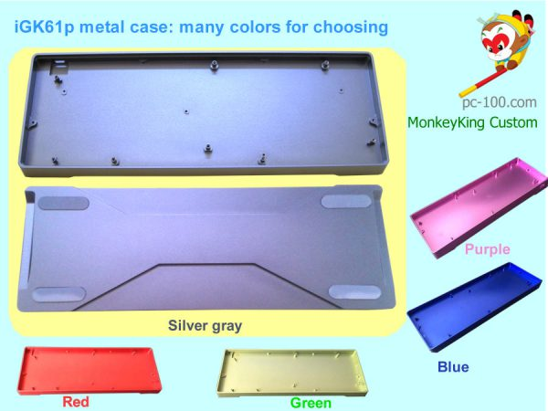 iGK61p DIY mechanical keyboard 61-key custom kit, CNC anodized aluminum alloy case colors: silver-gray, red, green, blue and purple for choosing