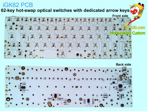 iGK62 PCB: DIY 62-key mechanical keyboard, hot swappable optical mechanical switches, with dedicated arrow keys, RGB backlit, programmable