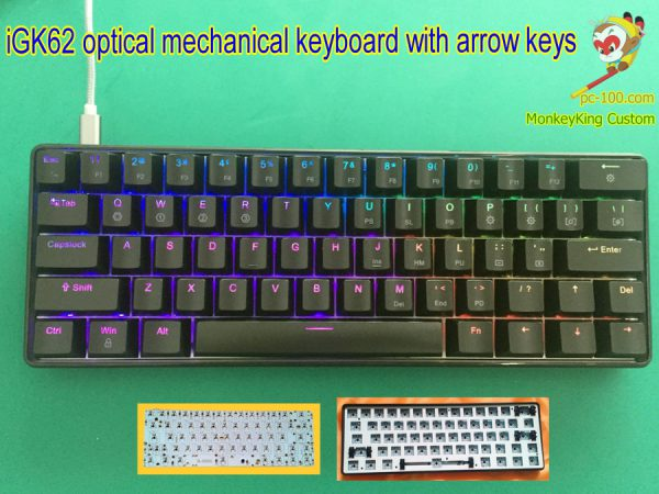 iGK62 hot swappable optical switches mechanical keyboard with arrow keys , DIY custom kits, PCB