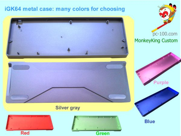 iGK64 60% RGB mechanical keyboard DIY custom metal colorful case: silver-gray, red, green, blue,purple from Chinese manufacturer