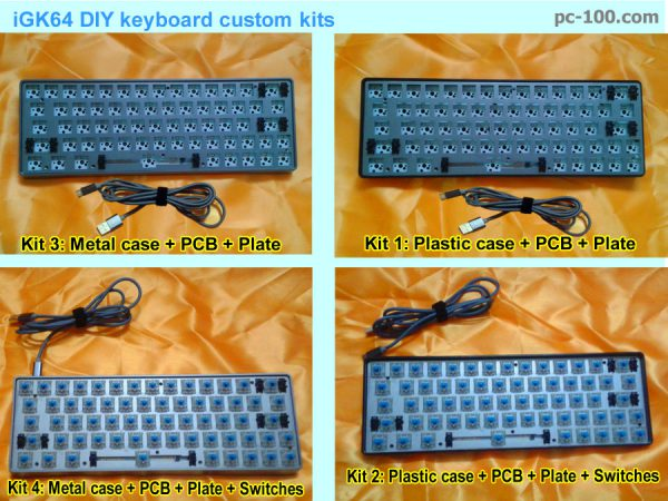 iGK64 DIY 64-key RGB mechanical keyboard custom kits, ABS plastic case kits, anodized aluminum alloy metal case kits from MonkeyKing Custom, China