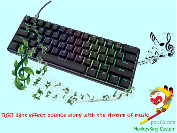 mini interesting mechanical keyboard, minimalist cool mechanical keyboard with fancy RGB backlit