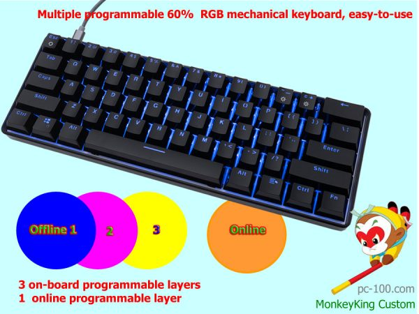 multiple programmable 60% RGB mechanical keyboard, smart custom, easy-to-use