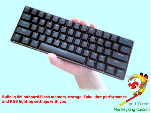 portable mechanical keyboard, professional minimal programmable keyboard, 60% layout RGB backlit design