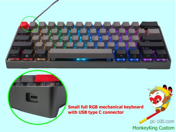 tiny programmable RGB mechanical keyboard with usb type c connector, 60% size LED backlit USB mechanical keyboard