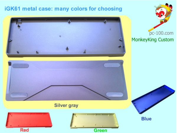 iGK61 DIY mechanical keyboard 61-key custom kit, metal case colors: silver-gray, red, green and blue for choosing