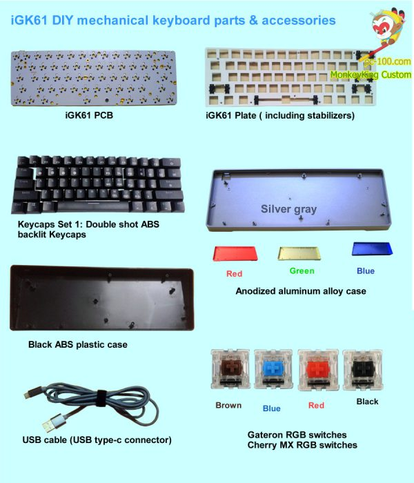 iGK61 DIY mechanical keyboard PCB, parts & accessories,61-key poker layout, RGB backlit progammmable