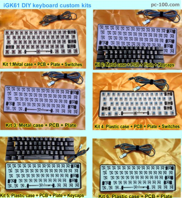 iGK61 DIY mechanical keyboard custom kits, ABS plastic case kits, anodized aluminum alloy case kits