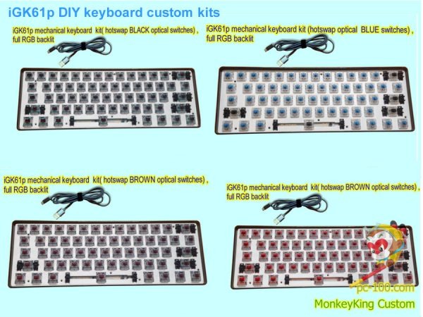 iGK61p DIY mechanical keyboard custom kits, ABS plastic case kits,optical switches
