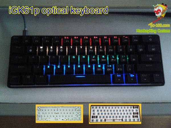 iGK61p poker layout hotswap optcial switches mechanical keyboard, DIY custom kits, PCB, full RGB backlit