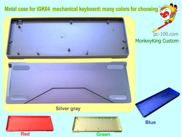 iGK64 60% RGB mechanical keyboard DIY custom metal colorful case: silver-gray, red, green, blue from Chinese manufacturer