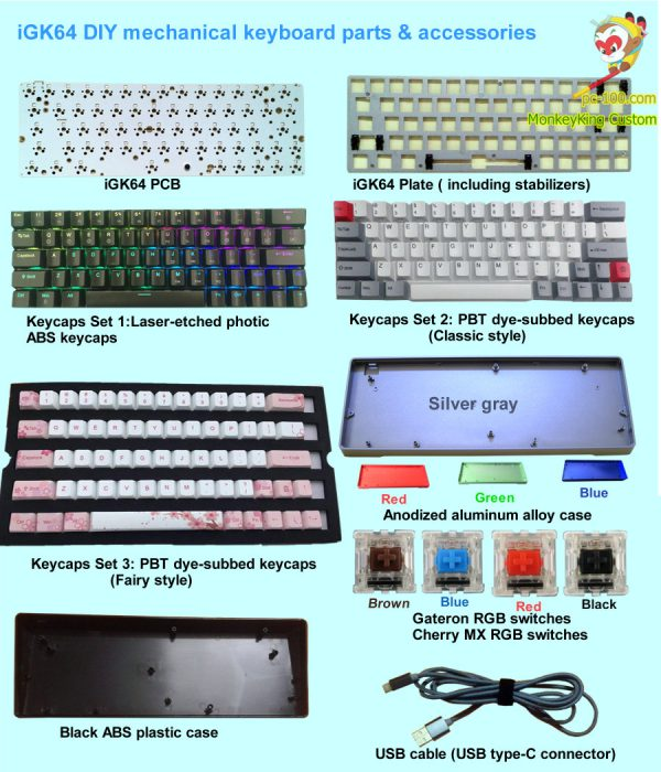iGK64 DIY mechanical keyboard RGB backlit PCB, photic ABS keycaps keyset, PBT dye-subbed keycaps, ABS case, aluminum alloy metal case,  custom parts & accessories