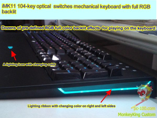 iMK11 104-key optical switches mechanical keyboard with full RGB backlit light and Color-changing color ribbon