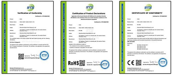 Certificates of CE/FCC/RoHS for mechanical gaming keyboard