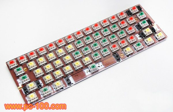 All switches were plugged to the PCB of GH60 mechanical keyboard