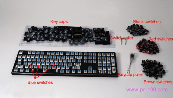Blue switch mechanical gaming keyboard, some switches for exchanging, pullers